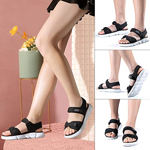 CAMELSPORTS Women's Comfortable Athletic Sandals Summer Water Shoes Velcro Strap Beach Sandals for Causal Travel Outdoor Sports Walking Black Size 7