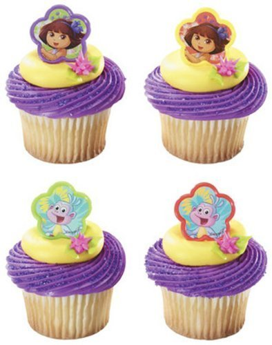 Cake Boots Dora - Dora the Explorer and Boots Springtime Friends Cupcake Rings - 24 ct by DecoPac