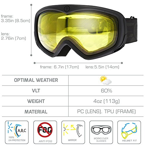 bda0681337e picador Ski Goggles Over The Glasses with Anti-Fog UV400 Protection Lens  for Youth and