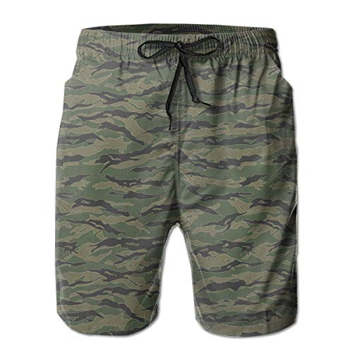 Fashion Swim Trunks Mens Board Shorts Classic Tiger Stripes Camouflage Quick Dry Shorts ()