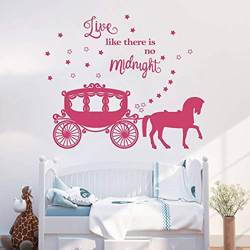 decalmile Princess Horse Carriage Wall Sticker Fairytale Cinderella Inspired Quote Live Like There's no Midnight Girls Wall Decals Kids Baby Nursery Room Decor (Dark -