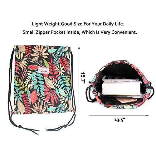 Alpaca Go Drawstring Bag Water Resistant Floral Leaf Lightweight Gym Sackpack for Hiking Yoga Gym Swimming Travel Beach