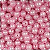 BEADTIN Light Pink Pearl 8mm Smooth Round Craft Beads (300pc)