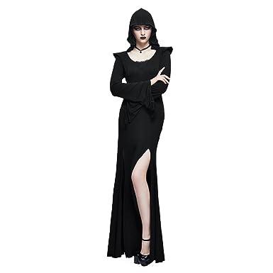 4149653e632 Punk Witch Maxi Evening Dress Black Long Sleeve Hoodie Dress Side Split  Long Prom Dress (