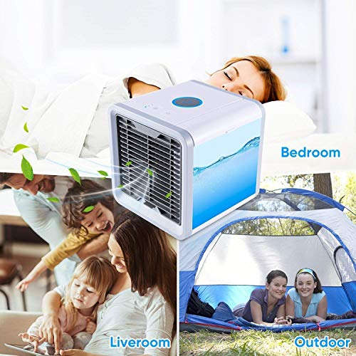 SOLKSHOP Portable Air Conditioner,3 in 1 Mini USB Personal Space  Cooler,Humidifier and Purifier,Air Cooler with 3 Speeds and 7 Colors Led  Night Light