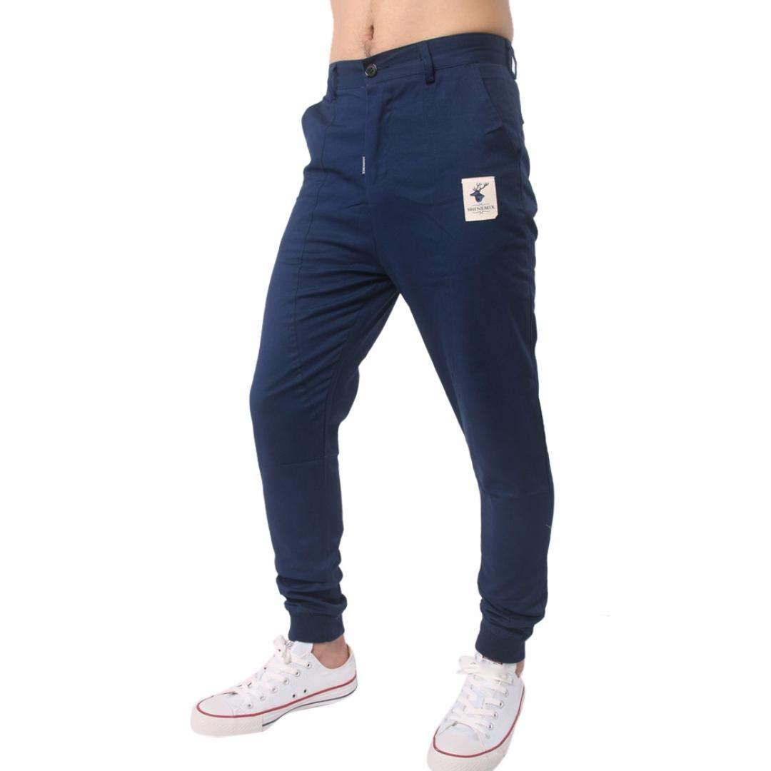 Realdo Clearance, Men Trousers Solid Sweatpants Slacks Casual Jogger Pant Sportwear Comfy (36,Blue)