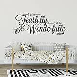 Diggoo I Am Fearfully And Wonderfully Made Psalm 139:14 Vinyl Wall Decal Sscripture Wall Art Vinyl Lettering (Black,14.5'' h x 30'' w)