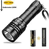 Scuba Diving Flashlight, Sofirn SD05 CREE XHP50B LED 3000 Lumen, Underwater Waterproof Light with Rechargeable 21700 Battery and USB Charger