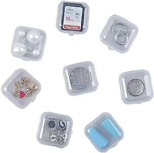 Janedream - 8 mini cajas de plástico transparentes cuadradas para joyería, pastillas, cajas de almacenamiento de 3,5 cm: Amazon.es: Joyería