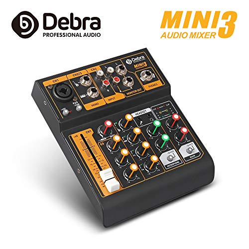 Debra Audio MINI 4-channel portable audio mixer DJ music console with XLR with 48V phantom power for Home Studio Recording DJ Network Live Broadcast Karaoke (Best Karaoke Mixer 2019)