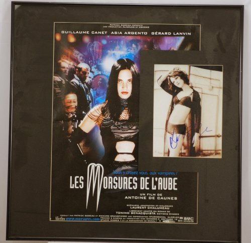 Custom Black Metal Framed - Asia Argento Signed 8x10 Photo - with Les Morsures De L'Aube Movie Poster - Very Rare - Collectible -