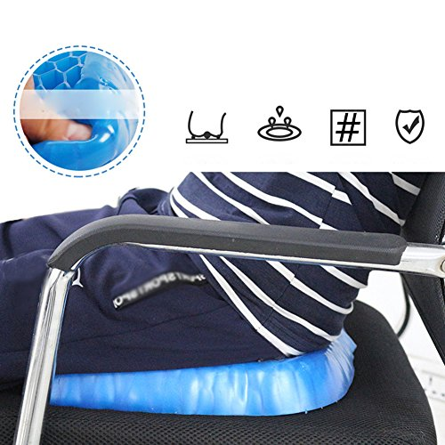 MQYH@ Gel Seat Cushion Breathable Cooling Pad for Car, Office Chair, Wheelchair, Pressure Sore Relief - Gel Comfort, Prevents Sweaty Bottom, Durable, Portable Seat Cushion with Washable Cover by MQYH@ (Image #2)