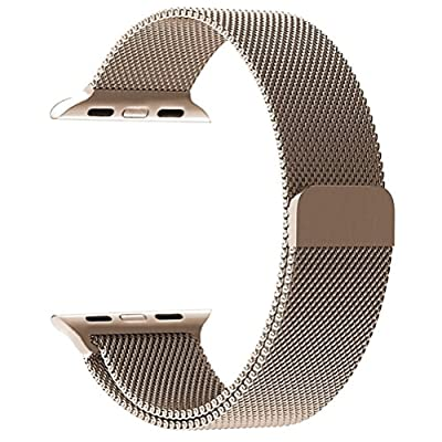Apple Watch Band 38mm, KYISGOS Strong Magnetic Milanese Loop Stainless Steel Replacement iWatch Strap for Apple Watch Series 2, Series 1 Nike+ Sport and Edition, Gold