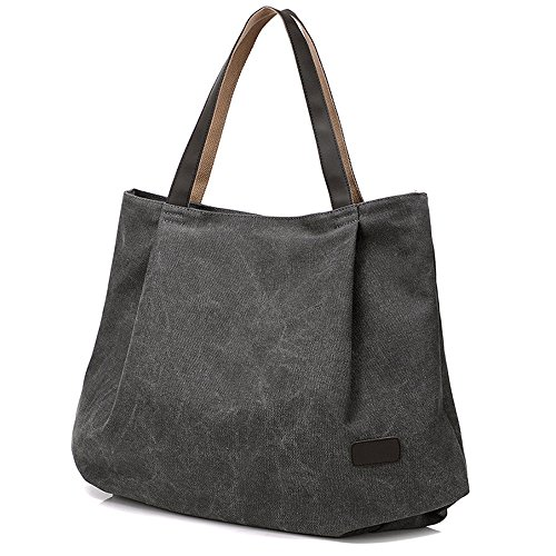 Hiigoo Women's Casual Handbag Big Shoppingbags Bucket Canvas Shoulder Bags (Grey)
