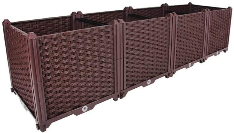 BAOYOUNI Rectangular Raised Garden Bed Kit Indoor Outdoor Plastic Planter Grow Box for Fresh Vegetables, Herbs, Flowers & Succulents, Brown, 61.41'' x 15.35'' x 14.96''