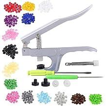 xlpace Hand Press Plier + 150pcs 1.2cm Plastic 15 Colors Snap Fastener 4-Part Buttons Set