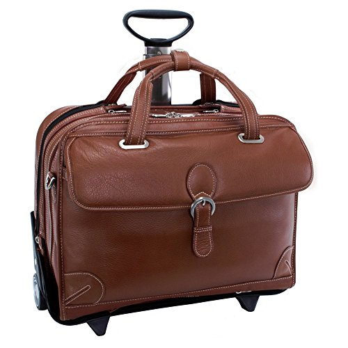 Siamod Carugetto Detachable-Wheeled Leather Laptop Case - (Carugetto Wheeled Laptop Case)