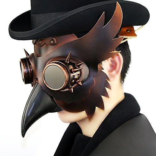 Steampunk Plague Bird Wings Rivet Goggles Mask Gothic Punk Mask Party Unique Design Costume Unisex Props (STYLE1)