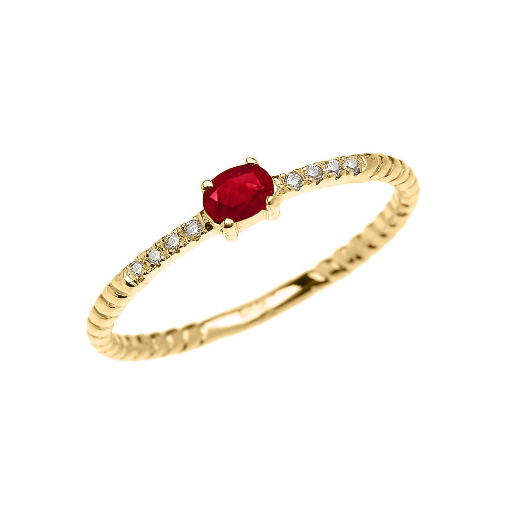 10k Yellow Gold Diamond and Oval Solitaire Ruby Dainty Promise Ring (Size 5.25)