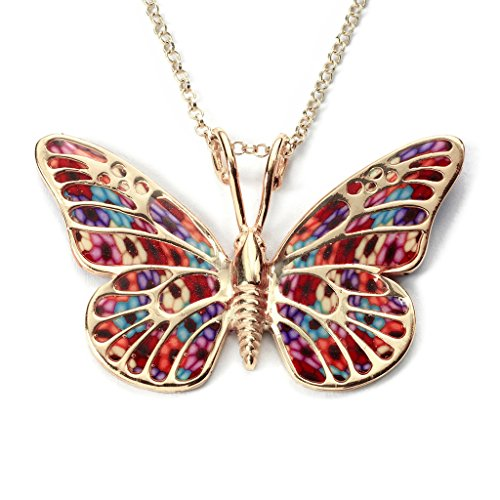 Necklace Silver Sterling Adina (Gold Plated Sterling Silver Butterfly Necklace Pendant Multi-Colored Polymer Clay, 16.5