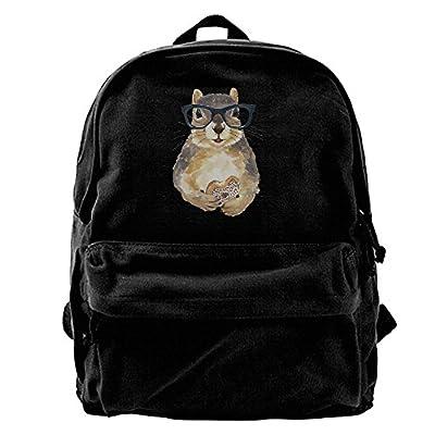 hot sale Nerdy Squirrel With Glass And Dessert Canvas Backpack Travel Rucksack Backpack Daypack Knapsack Laptop Shoulder Bag