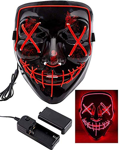 JUNBOON Halloween Scary Mask Frightening LED Wire Light Up Masks for Cosplay Halloween Festival Party Carnival Gifts(Red -