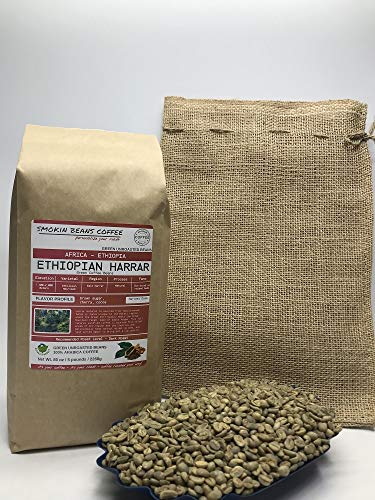 5 Pounds - African - Ethiopia Harrar - Unroasted Arabica Green Coffee Beans - Varietal Ethiopian Heirloom - Drying/Milling Process - Natural/Sun-Dried On Raised Beds - Hand Sorted - Include Burlap Bag