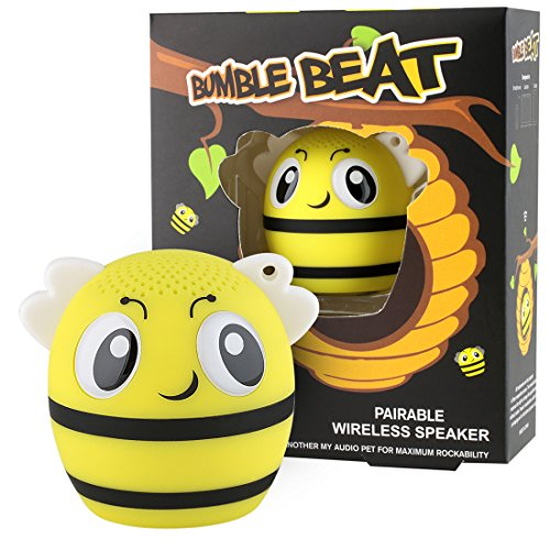 My Audio Pet Bee Mini Bluetooth Animal Wireless Speaker for Kids of All Ages - True Wireless Stereo Technology - Pair with Another TWS Pet for Powerful Rich Room-Filling Sound - (Bumble Beat)