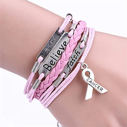 - Botrong Bracelet for Women, Multi-Layer Leather Rope Handmade Pink Ribbon Breast Cancer Awareness Bracelet