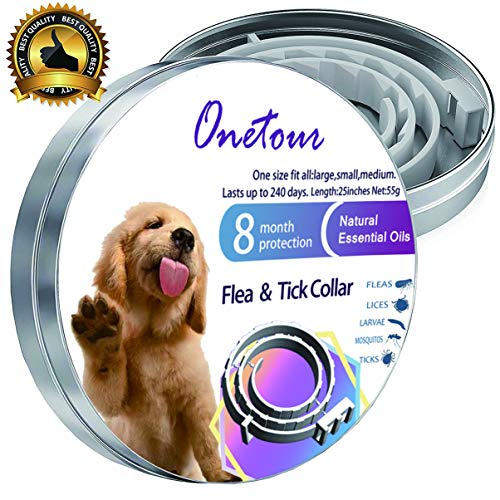 Flea and Tick Collar for Dogs/Cats, Natural and Hypoallergenic Flea and Tick Collar for Dogs and Cats, One Size Fits All, 8 Month Protection (Best Flea Protection For Dogs 2019)