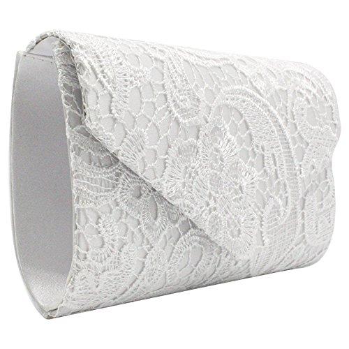 Wiwsi Bagpurple Nice Bridal Lace white Clutch Handbag Purse Lady Party Evening Floral Women rPwUxrFq