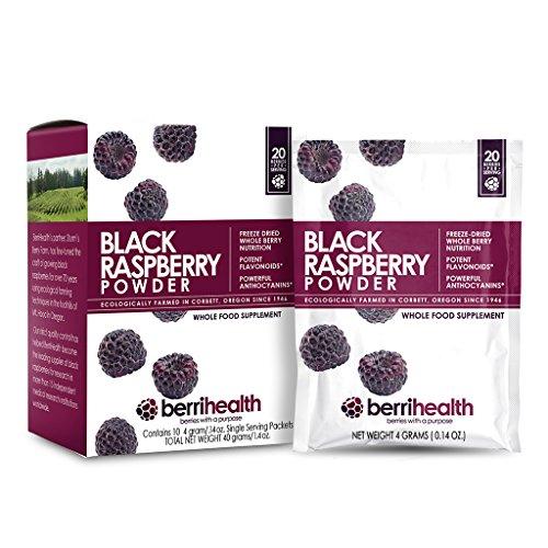 BerriHealth 100% Authentic Black Raspberry Powder - Single Serving Packs - 10 Per Box