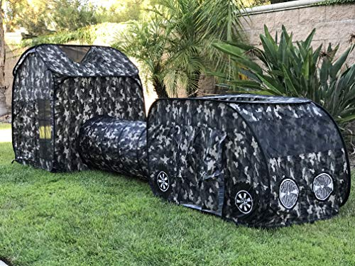 G3ELITE Kids Camo Play Tent, Childs 3 Piece Vehicle Pop Up Indoor/Outdoor Foldable Camouflage Tunnel Playhouse Gift Set with Carry/Storage Bag - (Black & Grey Camo) + 1 Year Warranty (Kids Outdoor Forts And Playhouses)
