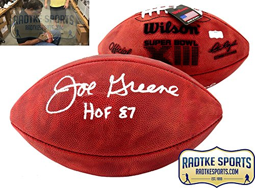 (Joe Greene Autographed/Signed Wilson Authentic Super Bowl 13 NFL Football with
