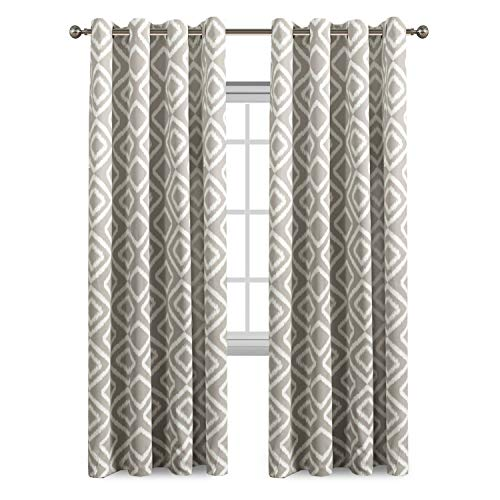 Flamingo P Ikat Fret Ultra Sleep Well Blackout Curtains Living Room Thick Soft Antique Grommet Curtain Greige Dove Pattern W 52 x L84 inch 1 Pair -
