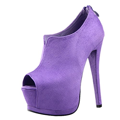 HooH Women's Sexy Peep Toe Zipper Platform Stiletto Sandals Purple UoRcixqG