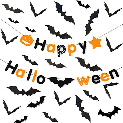 Halloween 3D Bat Party Wall Decals Stickers Decor with Banner Kit, COOLWAS Swirl Ceiling Hanging Bats 60 Pcs, Happy Halloween Fabric Flags Bunting Banners Party Supplies -