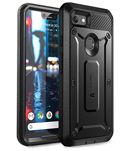 SUPCASE Full-Body Rugged Holster Case for Google Pixel 3 XL, with Built-in Screen Protector for Google Pixel 3 XL 2018 Release, Unicorn Beetle Pro Series - Retail Package (Black) (Nexus 6p Unicorn Beetle Hybrid Protective Case)