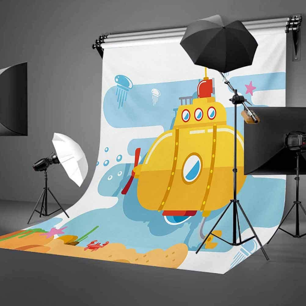 Yellow Submarine 10x12 FT Photo Backdrops,Submarine Underwater Illustration Crab and Starfish Animal Print Background for Child Baby Shower Photo Vinyl Studio Prop Photobooth Photoshoot
