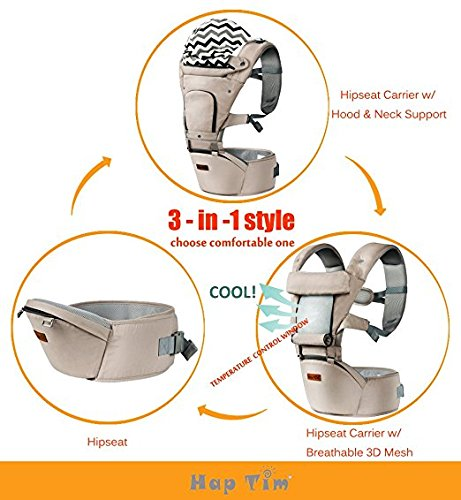 Ergonomic Baby Carrier with Hip Seat for Girls/Kids,Baby Backpack Carrier Toddler 6 Comfortable & Safe Positions, 48'' Maximum Adjustable Waistband, Perfect for Alone Nursing and Hiking (Grey)) by Hap Tim (Image #4)