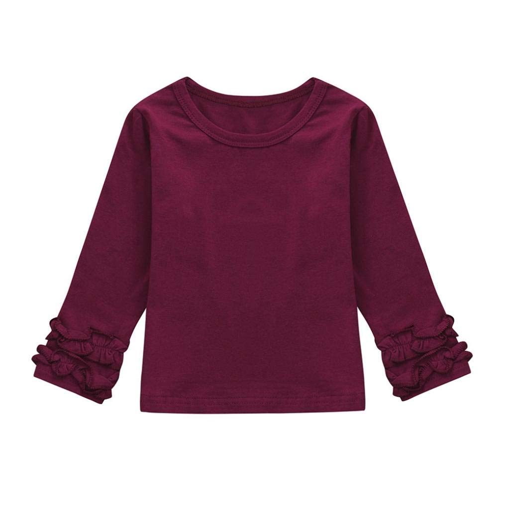 KONFA Teen Toddler Baby Girls Solid Color Ruffles Sleeve T-Shirt, for 0-4 Years Old, Kids Long Sleeve Blouse Tops Clothing Set KONFA_Tops