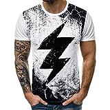 Winsummer Men's Lightning T-Shirt Hipster Hip-Hop Tees Fashion Graphic Tshirt Vintage Tops White