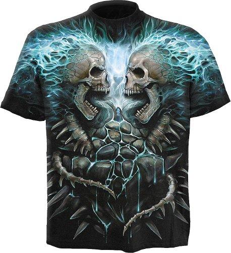 Spiral - Mens - Flaming Spine - Allover T-Shirt Black - L