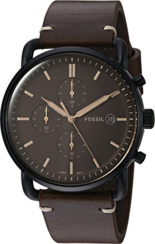 Mens Chronograph Brown Leather (Fossil Men's 'The Commuter' Quartz Stainless Steel and Leather Casual Watch, Color:Brown (Model: FS5403))