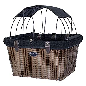 Travelin K9 Pet-Pilot Wicker MAX – Dog Bicycle Basket Bike Carrier- Includes Wire Top with Sun Shade 48