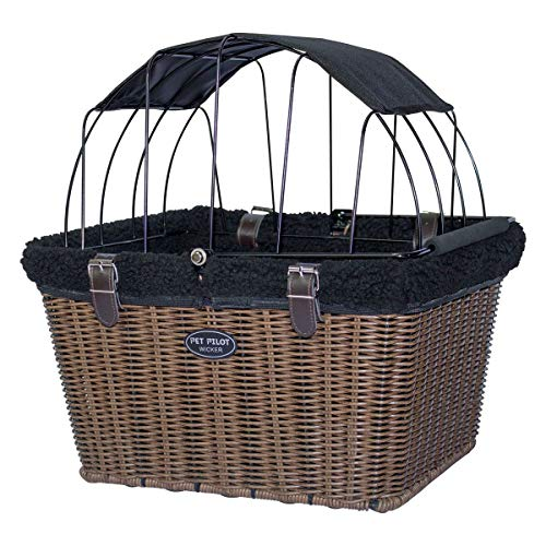 Travelin K9 Pet-Pilot Wicker MAX - Dog Bicycle Basket Bike Carrier- Includes Wire Top with Sun Shade