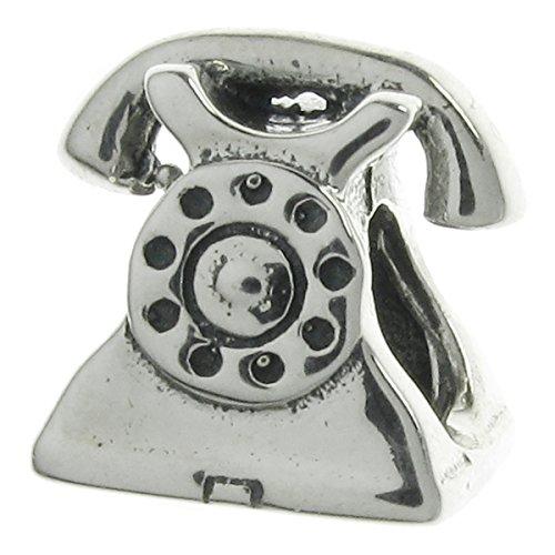 Sterling Silver Telephone (925 Sterling Silver Telephone Bead For European Charm Bracelets)