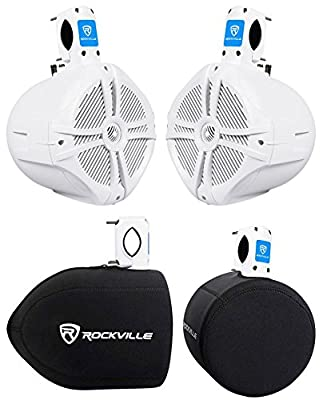 "(2) Rockville RWB80W 8"" White 500 Watt Marine Wakeboard Tower Speakers+Covers"
