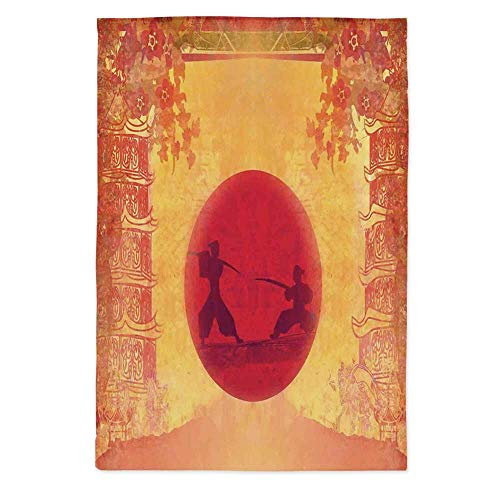 Japanese Dust Proof Tablecloth,Warrior Ninjas at Sunset Between Temples with Flowers Spiritual Battle Theme Decorative for Kitchen Dinning Tabletop Decoration,70.1''W X 84''L