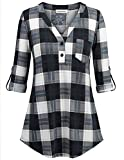 Large Plaid Shirts for Women, Teen Gilrs Classy Boyfriend Lightweight Casual Wear Daily Glamour Knitted Buton Decor Novelty Outdoor Checked Tartan Tops Black White Blue L